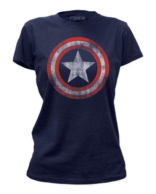 Amazon.com: TeeShirtPalace Women's Captain America Incredible Distressed Shield Marvel T-Shirt: Clothing
