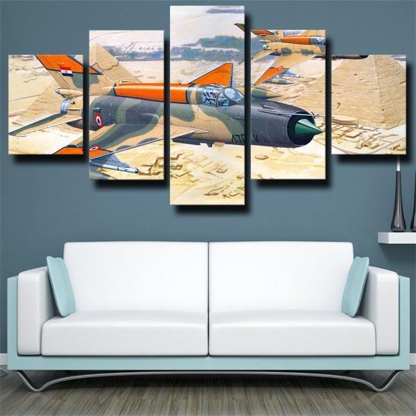 Military Aircraft Jet Fighter Mikoyan Gurevich Hercules Wall Art Canvas Prints Wall Decor Design Panel Wall Art