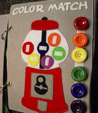 Quiet book: Gumball color match, tic-tac-toe
