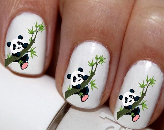 The 25 best panda bear nails ideas on pinterest cool easy nail 20 pc panda bear nail art panda bears panda love by easynailtrends prinsesfo Image collections