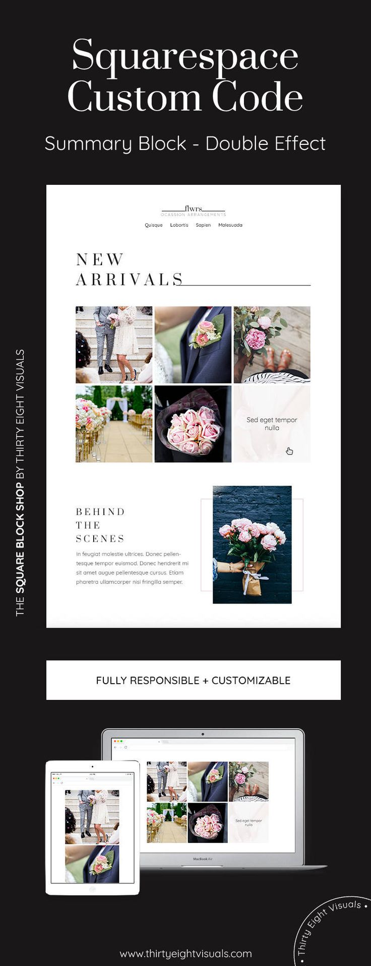 Squarespace plugin, custom code - Add an awesome overlay effect to your Squarespace Grid Summary Block with this custom code to get your title and metadata show on hover! Take a look!