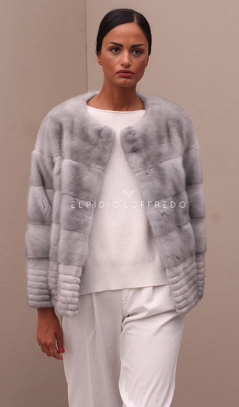 Sapphire Female Mink Jacket with whole skins. Made in Italy. Skins Quality: KOPENHAGEN PLATINUM; Color: Sapphire; Closure: With Hooks; Collar: Plat; Lining: 100% Satin; Lining Color: Fantasy, Multicolor; Length: 60 cm;