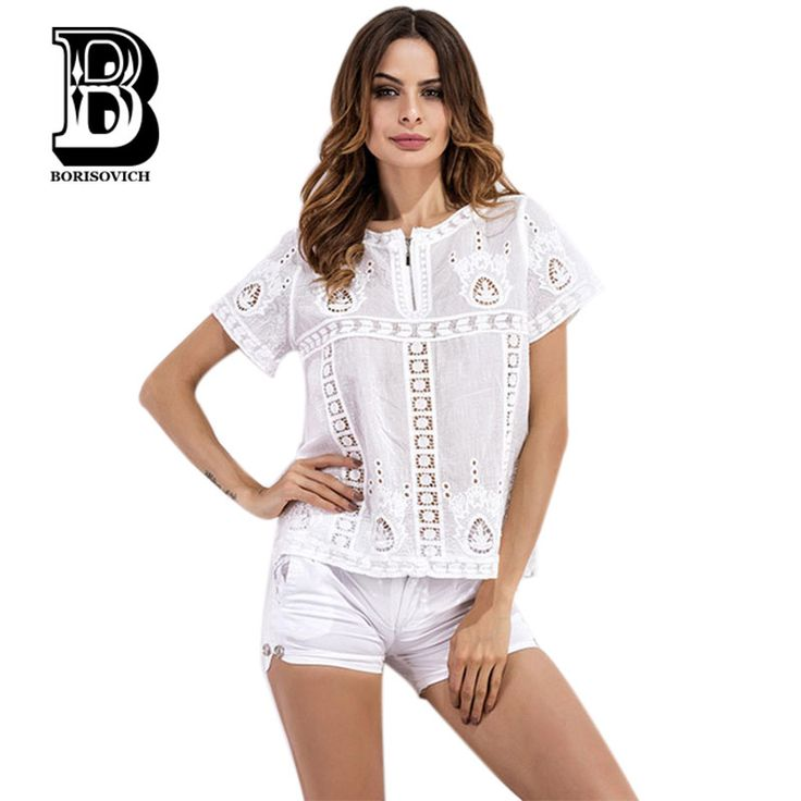 Borisovich New 2017 Summer Fashion Embroidered Hollow Out Sexy Lace Female Tops Women Short Sleeve Casual Blouses Shirts K112