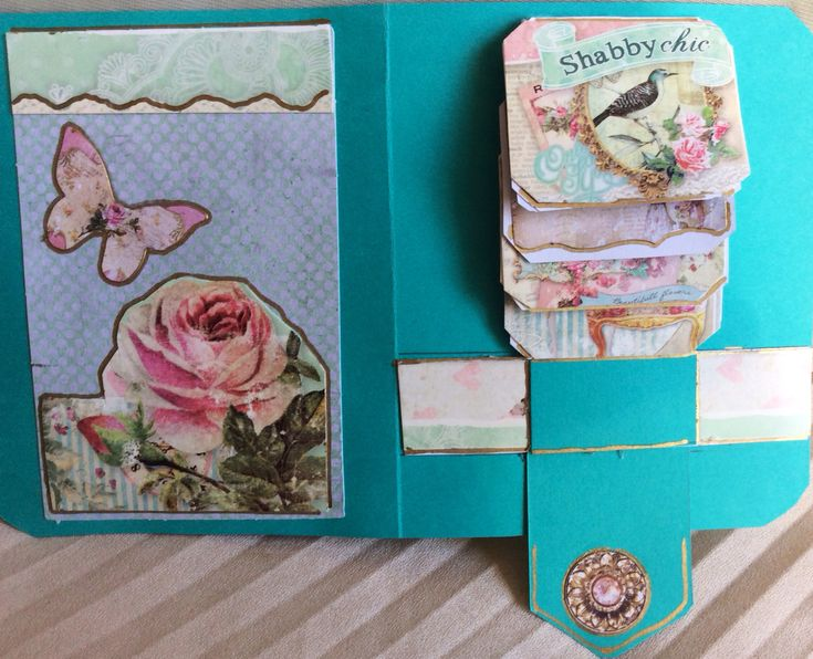Shabby chic waterfall card, inside, flipping cards closed
