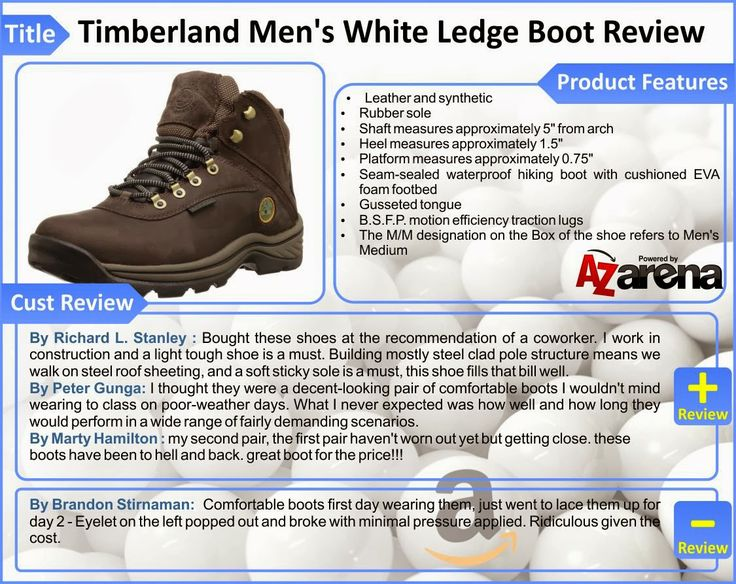 Top Timberland Men's White Ledge Boot Review   Timberland set new industry standards for craftsmanship, durability and protection when it introduced an authentic, waterproof leather boot in 1973. A global leader in design, engineering and marketing of premium footwear, Timberland values consumers who cherish the outdoors and their time in it. Timberland has been an industry leader in the use of both sustainable and recycled materials in its shoes, as well as its footwear packaging.