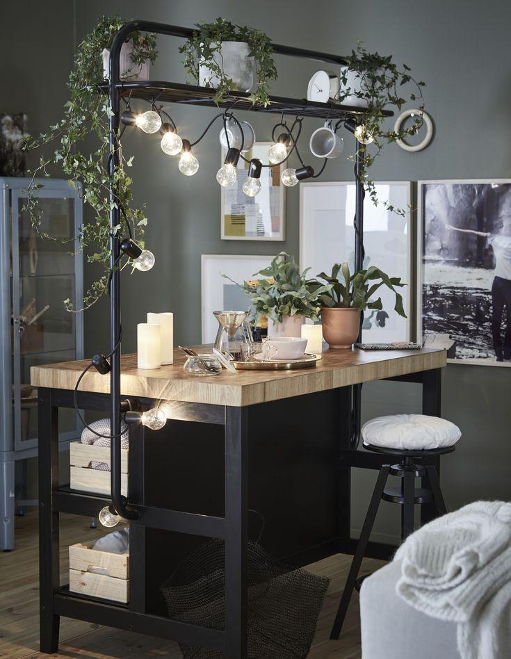 vadholma kücheninsel mit gestell  schwarz eiche  ikea