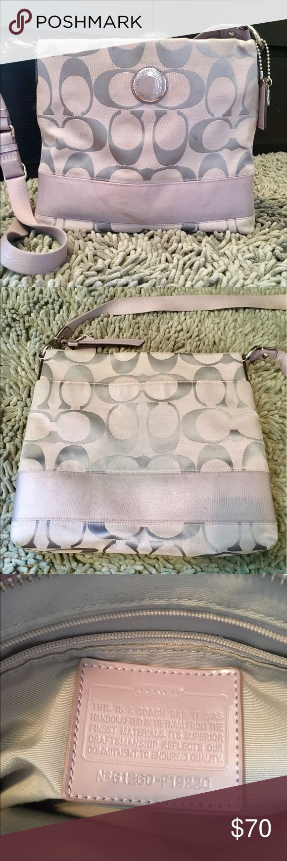 Coach Satchel Over the shoulder light purple coach satchel. Has an adjustable strap and organizing pockets on the inside! Outside inner large pocket for easy access! Lightly used Coach Bags Satchels