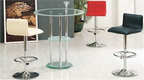 Contemporary Classy Glass Bar Table with shelf  8008