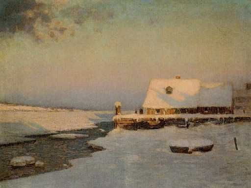 """Winter Twilight,"" Birge Harrison, ca. 1910, oil on canvas, 30 x 40"", private collection.:"