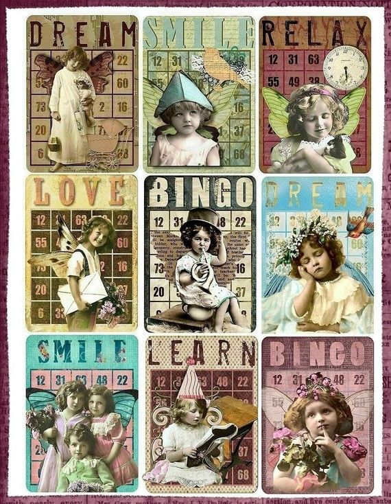 Altered art bingo cards: Atc Vintage, Altered Bingo Cards, Vintage Children, Art Journals, Art Bingo, Atc Tags, Altered Art, Vintage Games Cards, Vintage Atc Cards