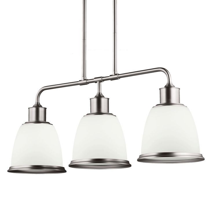 The industrial-inspired Hobson Linear Chandelier features an Aged Brass, Oil Rubbed Bronze, or Satin Nickel finish with Etched Opal glass, Clear Seeded glass, or matching metal shades. Three 75 watt max 120 volt medium base bulbs are required, but not included. The Clear Seeded shade options are ideally suited for vintage-style filament bulbs. 36 inch width x 14.1 inch height x 9.5 inch depth x 58.75 inch maximum length. Includes two 6-inch and six 12-inch downrods. UL listed.