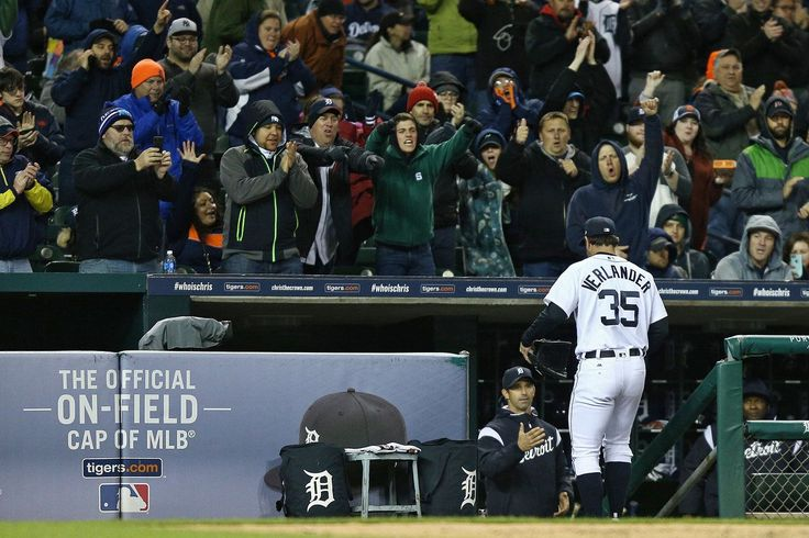 Detroit Tigers pitcher Justin Verlander (35) leaves the game to a standing ovation after the seventh inning of their AL Central game against the Cleveland Indians at Comerica Park in Detroit, on Tuesday, May 2, 2017. (Mike Mulholland | MLive.com)