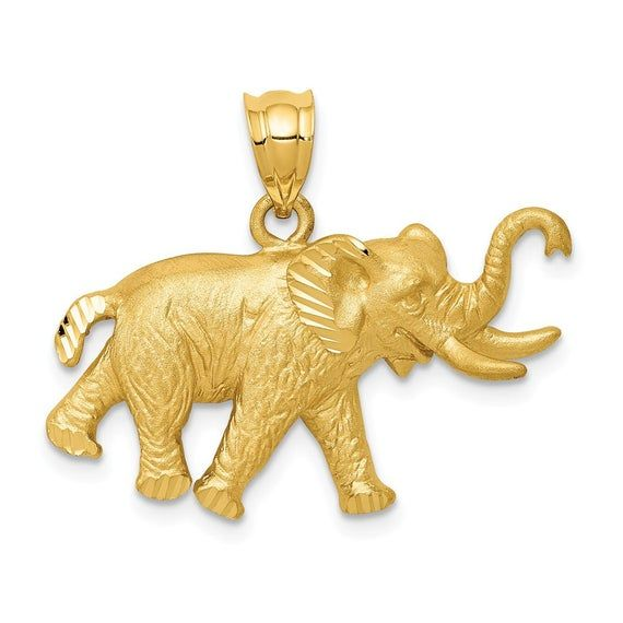 New 14k Yellow Gold Elephant Pendant