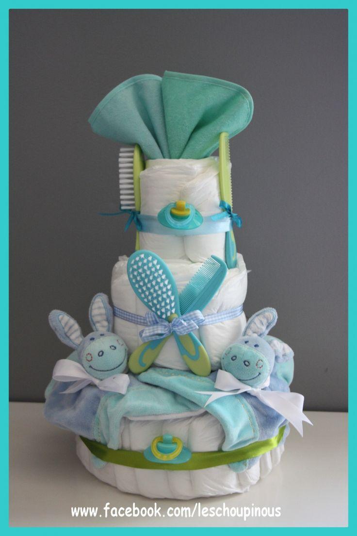 Gâteau de couches Jumeaux garçons cadeau naissance baptême : Décoration pour enfants par les-choupinous