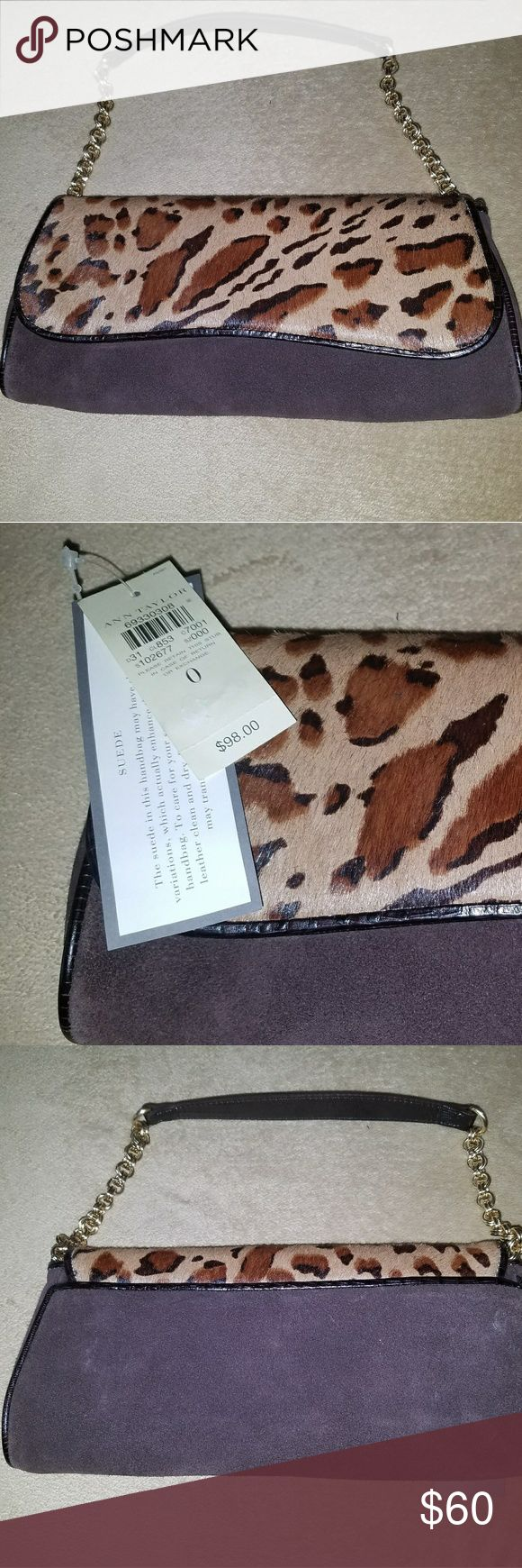 NWT Ann Taylor Suede Leopard Purse/ Clutch NWT Gorgeous Ann Taylor purse. Strap can tuck inside to turn into a clutch. Beautiful suede leopard pattern. Magnetic closure. $98 Ann Taylor Bags Clutches & Wristlets