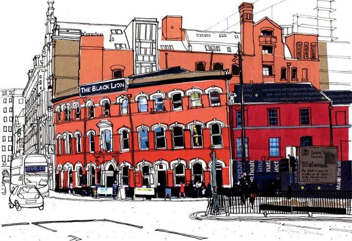 Caroline Johnson's sketch of the Black Lion in Manchester.