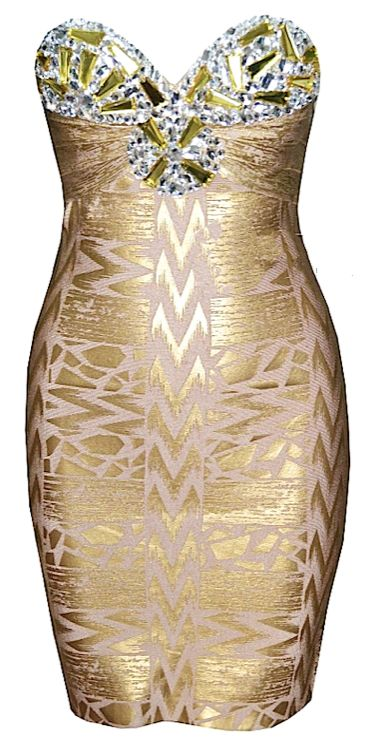 Marissa Bejeweled Gold Bandage Dress from Raw Glitter | Shop Hottest New Party Dresses | Women's Clothing, Jewelry