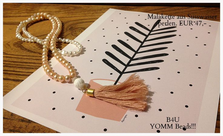 Mala necklace made of white and pink pearls. For more Information go to: b12design.de