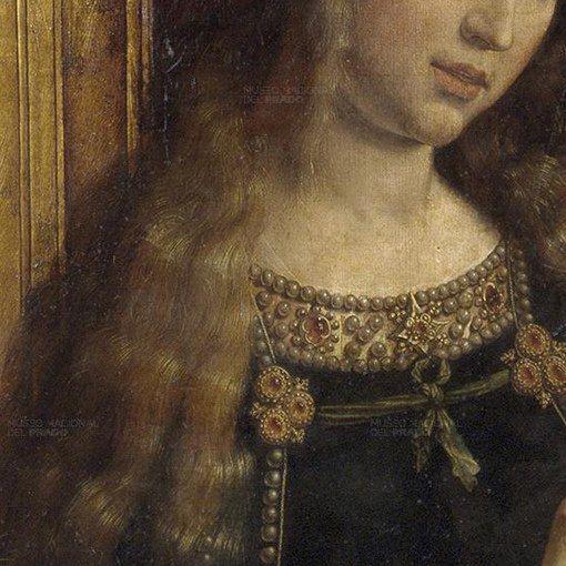 Particolari numero 4. Jan Gossaert: Deesis. Olio su tavola di quercia, del 1525-30. Museo del Prado, Madrid. Gli splendidi, dorati e lunghi capelli della Maddalena coprono il mantello, che è legato con un nastro alle fibbie in oro erubini. Anche il bordo dell'abito è tutto ricamato sontuosamente, un vero virtuosismo di Gossaert. — con Lela Nozadze