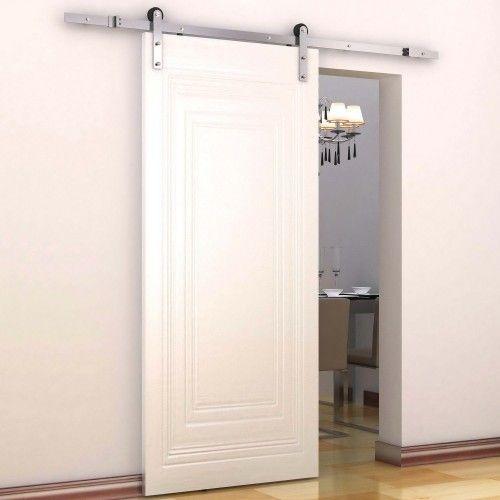 HomCom Kit de Instalación Rieles para Puertas Correderas Plata Acero Inoxidable 183x4x0,8 cm | Aosom