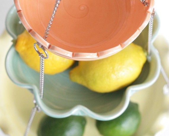Hanging Kitchen Basket - Set of 3 with UnMatchy edges - MADE TO ORDER - Citrus…