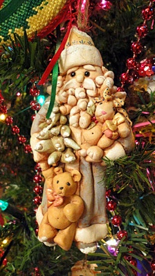 Santa ornament, handmade salt dough