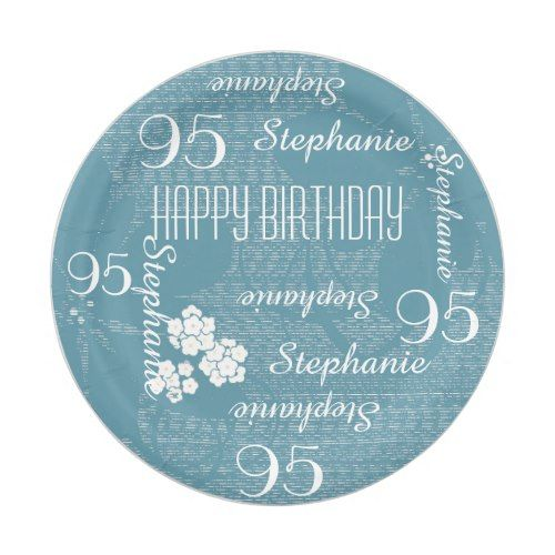 Paper Plates, 95th Birthday Party Blue Floral Paper Plate