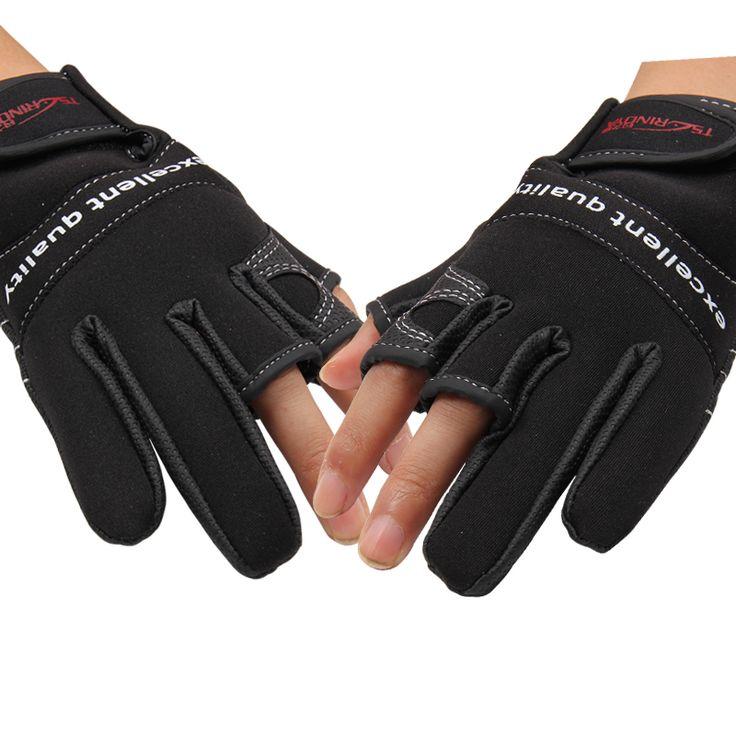 2016 Fingerless Exposed Men&Women Breathable Fishing Gloves Anti Slip Sailboat Sailing Fishing Water-proof Hunting 3 cut Gloves