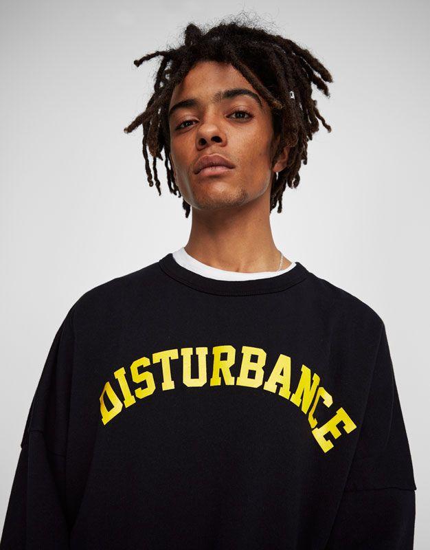 Sweatshirt met gele tekst - Sweaters - Kleding - Heren - PULL&BEAR Netherlands