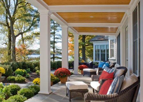 Traditional Porch Design....very pretty: Ideas, Porches Ceilings, Porches Decor, Front Porches Design, Back Porches, House, Dreams Porches, Covers Porches, Traditional Porches