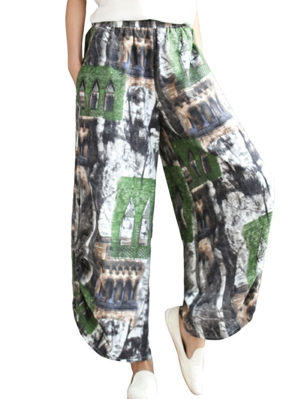 08df759b43555d Vintage casual women elastic waist floral printed loose wide leg pants  pants trousers or underwear #