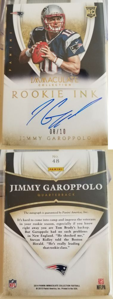 Football Cards 215: 2014 Jimmy Garoppolo Panini Immaculate Rookie Ink R C Auto # 10 (!!!!) Patriots -> BUY IT NOW ONLY: $329 on eBay!