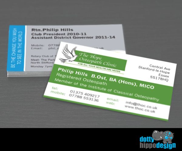 Business card design for The Hope Osteopath Clinic