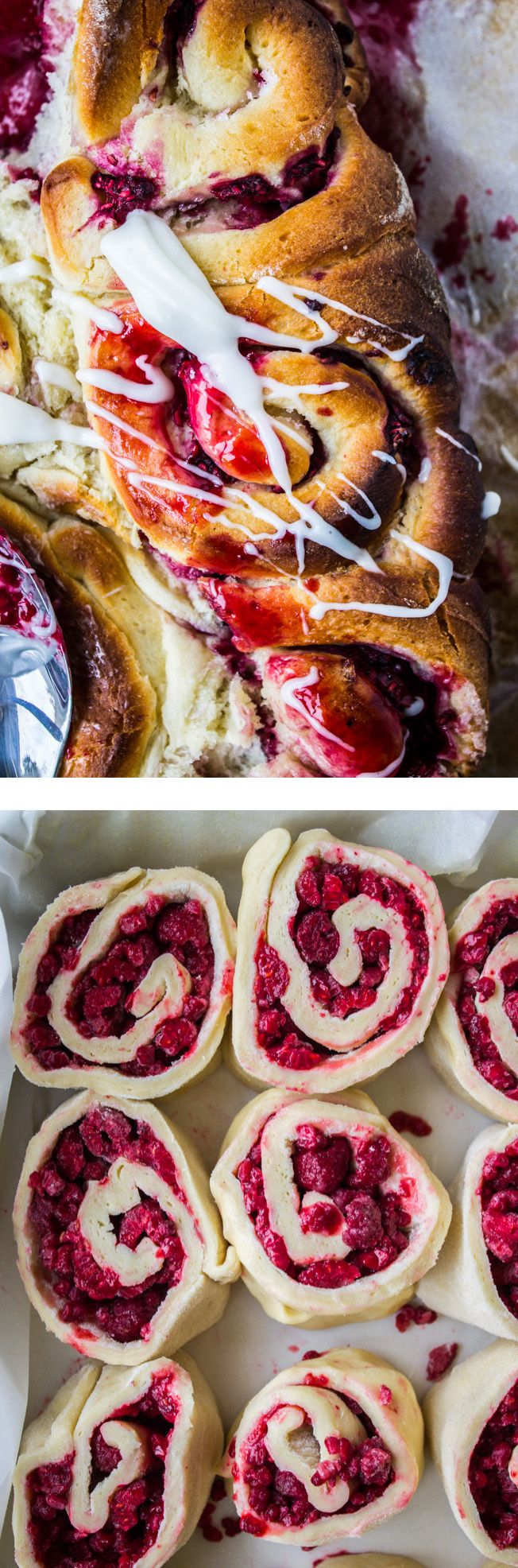 Raspberry Sweet Rolls with Coconut Cream Cheese Frosting from The Food Charlatan // These rolls will knock your socks off. The frosting is enough to make a man weep.