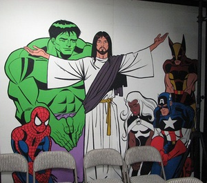 And now, a mural of Spider-Man, Wolverine, and The Hulk hanging out with Jesus