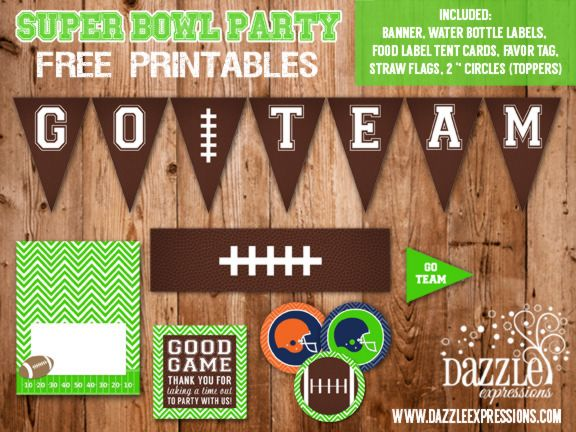 FREE Football Super Bowl Party Printables by Dazzle Expressions - www.dazzleexpressions.com - facebook.com/DazzleExpressions - banner, cupcake toppers, straw flags, food labels, favor tag, water bottle labels