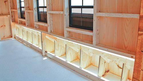 Nest boxes inside a board and batten Super Coop