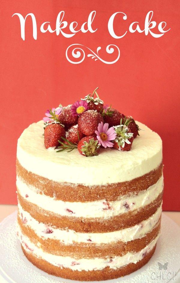 Naked cake de fresas, nata y mascarpone | Naked cake receta