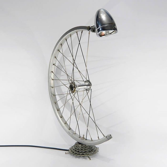 Upcycled Bike Wheel Lamp
