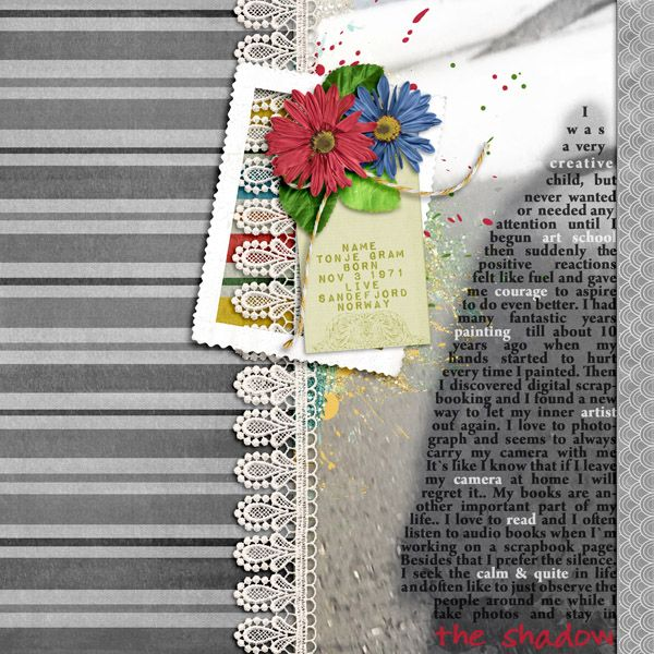 I used the following in my page:  Christmas Tradition by Lisa Rosa Lace   A Pocket Full of happiness by Lisa Rosa Paint splatter, Red flower, Green leafs, Yarn, Ribbon (desaturated)  Collab - Live Happy! Glitter smears by Missy Bits Tag by Callaluna Creations  Collab Adventure Bound Stripe paper (desaturated) by magsgfx Frame by Sugar Moon Camera by Mayo Designs