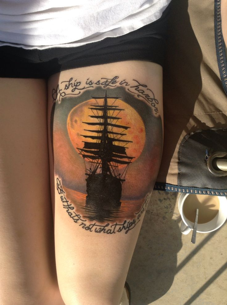 """""""A ship is safe in harbor, but that's not what ships are for."""" My latest tattoo done by @justincraven at Body Mods in Sunbury PA. Ship sailing into the moon. Love how it turned out! #tattoo #shiptattoo #pirateslifeforme"""