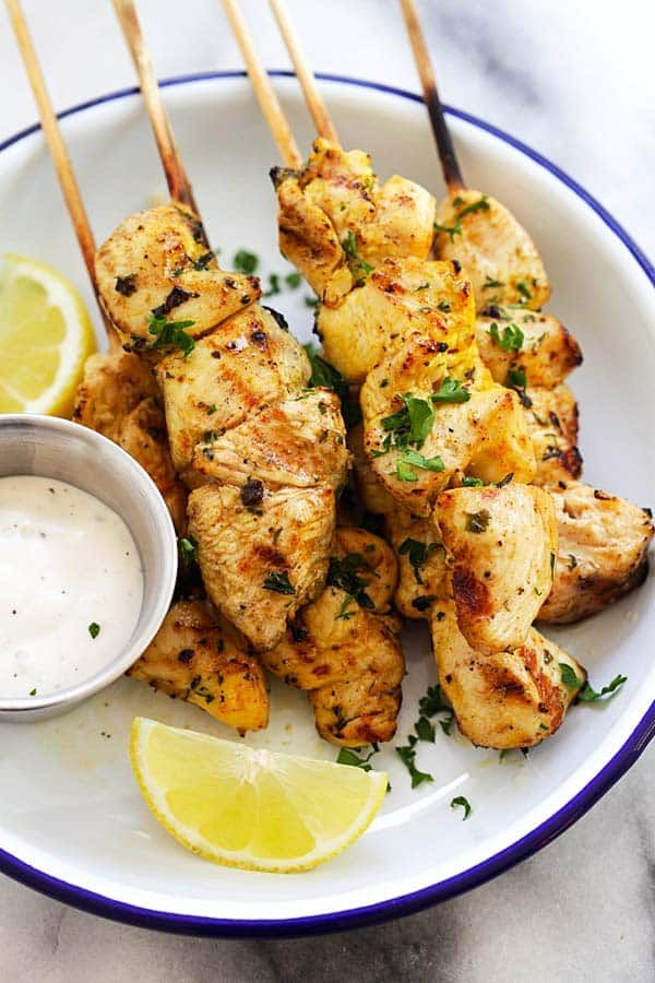 Chicken Souvlaki - juicy and moist grilled Greek chicken souvlaki recipe made with garlic, yogurt, lemon and olive oil. The best chicken on a stick ever | rasamalaysia.com