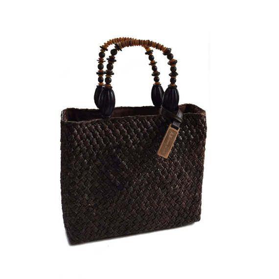Vintage Anne Klein Woven Straw Handbag Purse by lakesidecottage