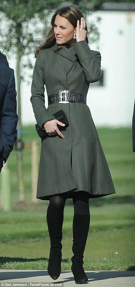Stylish: Kate wore the £325 Angel coat in military grey from her favourite High Street brand Reiss (a previous season's style