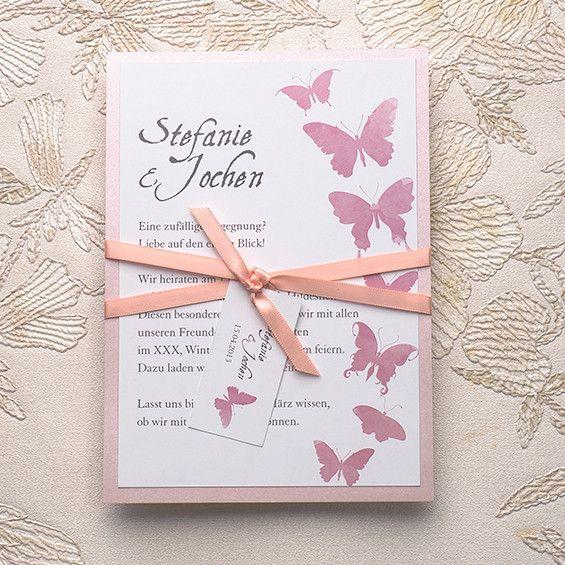 Rose Schmetterling Hochzeitskarte Mit Peach Band KPL056 [KPL056]   U20ac0.00 :  Günstige Einladungskarten