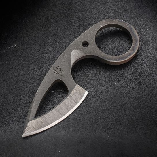 "Scorpion 6 Knives Custom Frelser Neck Knife 2"" D2 Black Loki Blade, Kydex Sheath - KnifeCenter"