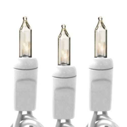 (50) Bulbs - Clear Mini Christmas Lights - Length 17 ft. - Bulb Spacing 4 in. - White Wire - 120V . $5.36. Part No. 450-CLR-W - Wattage 20 Watt - Connection Male to Female - Lead Length 4 in. - Lighted Length 16.3 ft. - Tail Length 4 in. - Max. Connections 3 Sets - Wire Gauge 22 AWG - UL Listed Indoor/Outdoor -