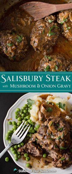 Homemade Salisbury Steak with Mushroom & Onion Gravy from dishesanddustbunnies.com