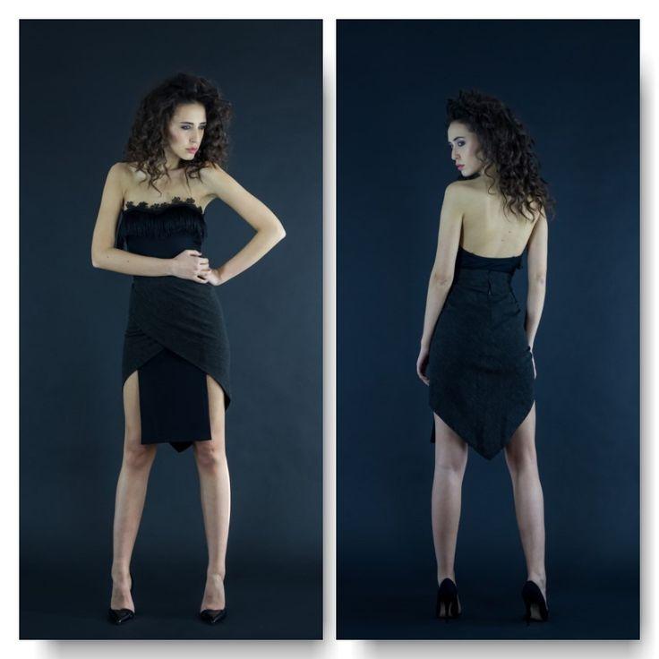 Black bodysuit with fringe  Price: 250 RON Wrap over asymmetric skirt  Price: 200 RON