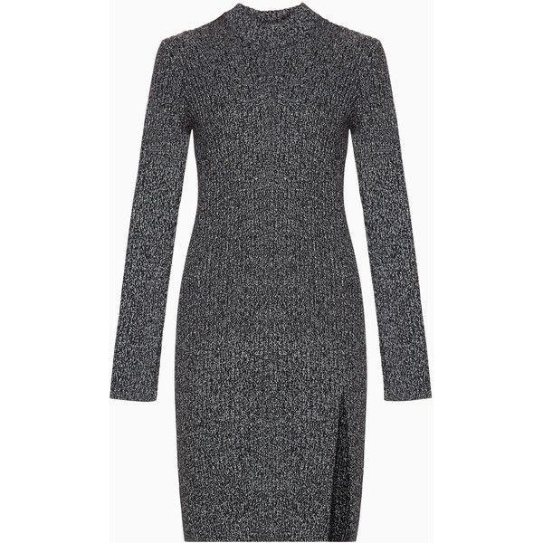 BCBGMAXAZRIA Gwynn Sweater Dress (4,075 MXN) ❤ liked on Polyvore featuring dresses, sweater dresses, slit dress, bcbgmaxazria and bcbgmaxazria dress